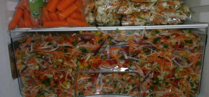 Veel voedsel, waaronder veel rauwkost