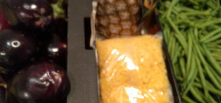 Annanas, vegan-kaas, spercibonen, aubergine